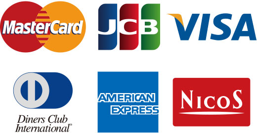 Master Card, JCB, VISA, Diners Club International, American Express, Nicos
